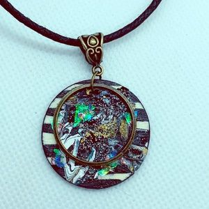 Jewelry - Hand painted wooden disc pendant necklace.